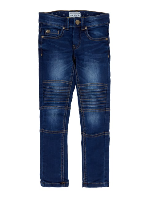 Slim Fit 5-Pocket-Jeans im Biker-Look Blau / Türkis - 1