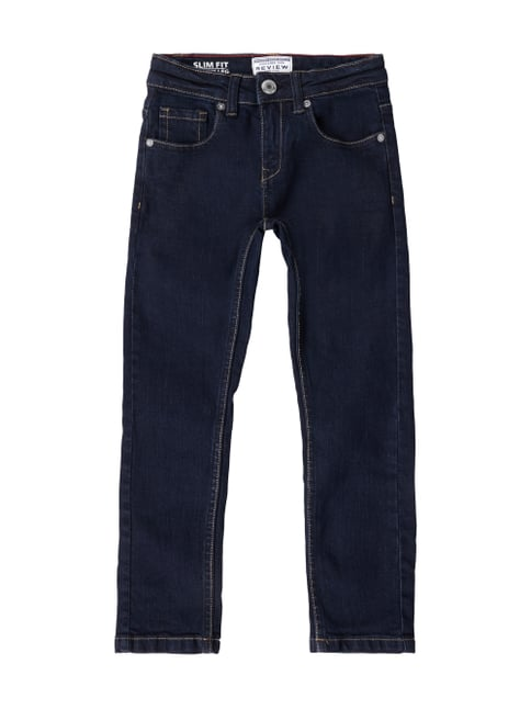 Slim Fit Jeans aus Raw Denim Blau / Türkis - 1