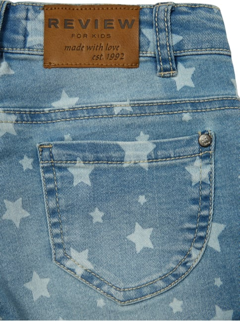 Stone Washed Jeansshorts mit Sternen-Print Review for Kids online kaufen - 1