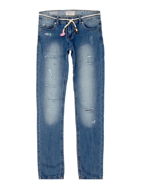 Regular Fit Jeans im Destroyed Look Blau / Türkis - 1