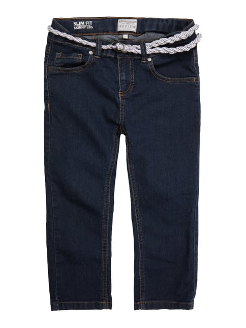 Rinsed Washed Slim Fit Jeans mit Gürtel Blau / Türkis - 1