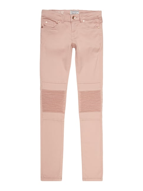 Slim Fit Jeans im Biker-Look Rosé - 1
