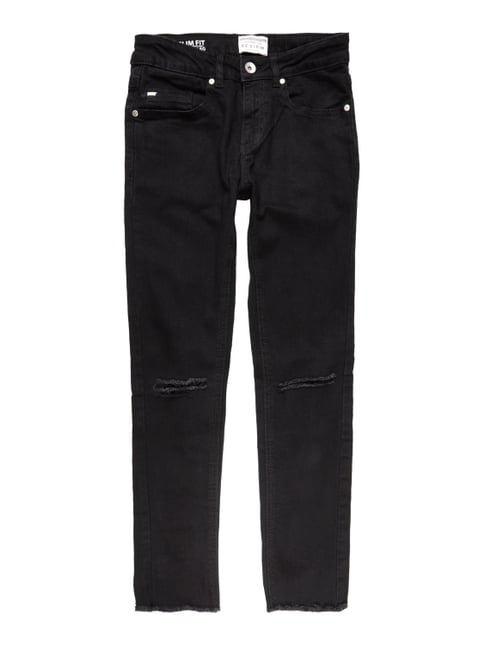 Slim Fit Jeans im Destroyed Look - verkürzt Grau / Schwarz - 1