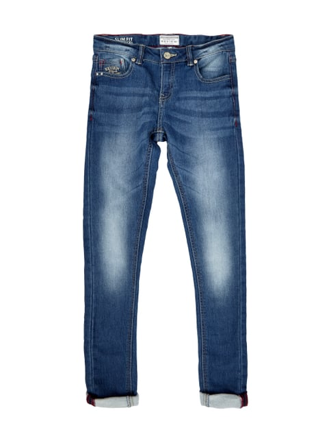 Slim Fit Jeans im Stone Washed Look Blau / Türkis - 1