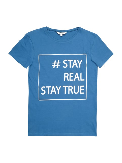 T-Shirt mit Message-Print Blau / Türkis - 1
