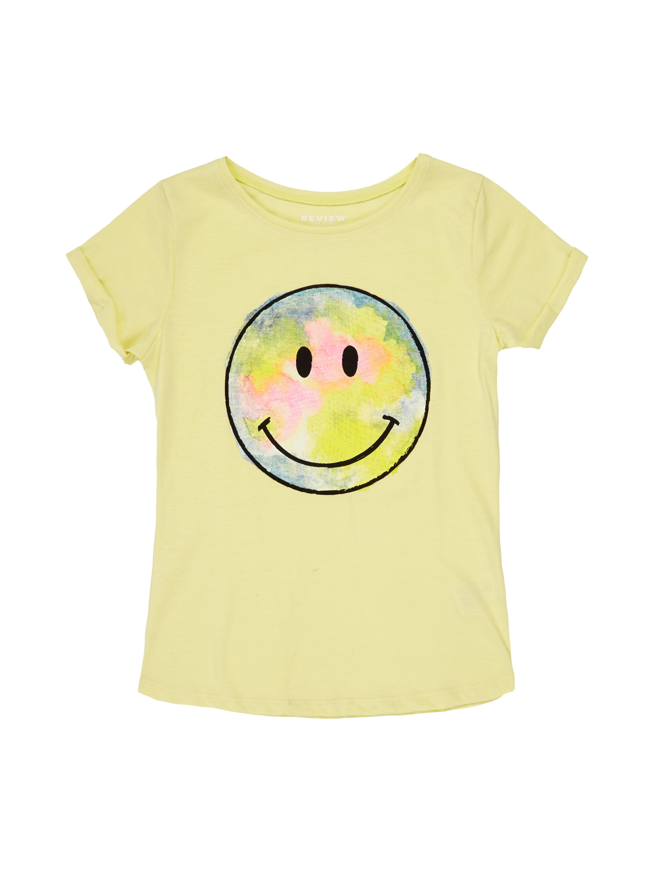 review for teens t shirt mit smiley print in gelb online. Black Bedroom Furniture Sets. Home Design Ideas