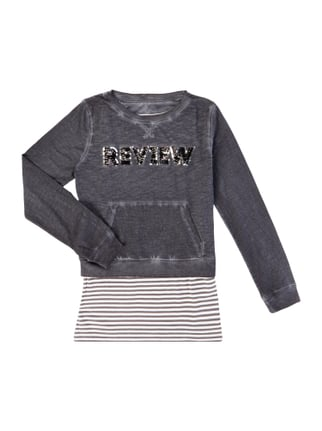 Washed Out Sweatshirt im 2-in-1-Look Grau / Schwarz - 1