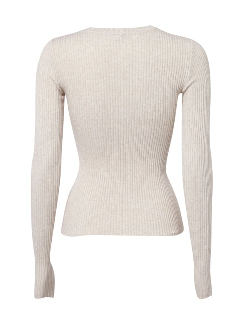 REVIEW Pullover aus Rippenstrick Sand meliert - 1