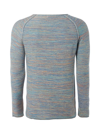 REVIEW Pullover in Melangeoptik Blau - 1