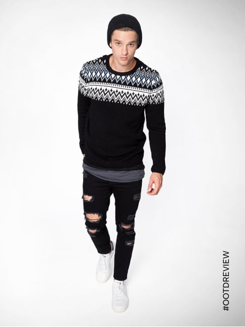 REVIEW Pullover mit Norweger-Dessin Anthrazit meliert - 1