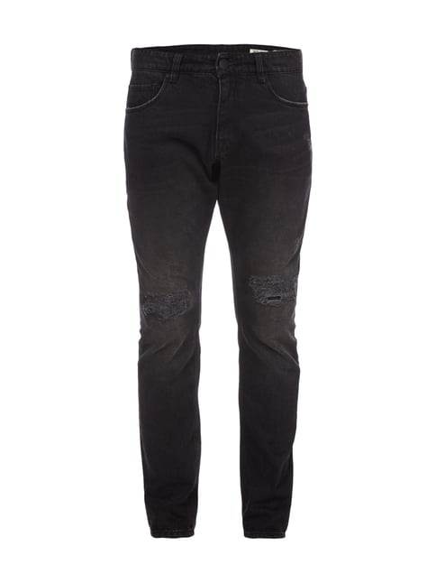 Relaxed Skinny Fit Jeans im Destroyed Look Grau / Schwarz - 1
