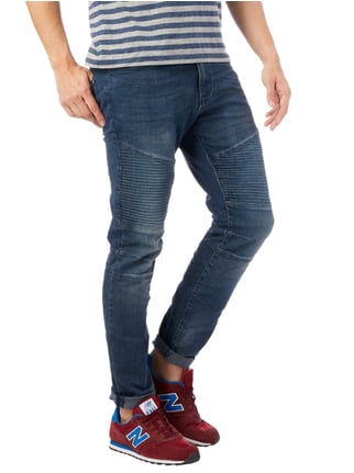 REVIEW Skinny Fit 5-Pocket-Jeans im Biker-Look Blau - 1