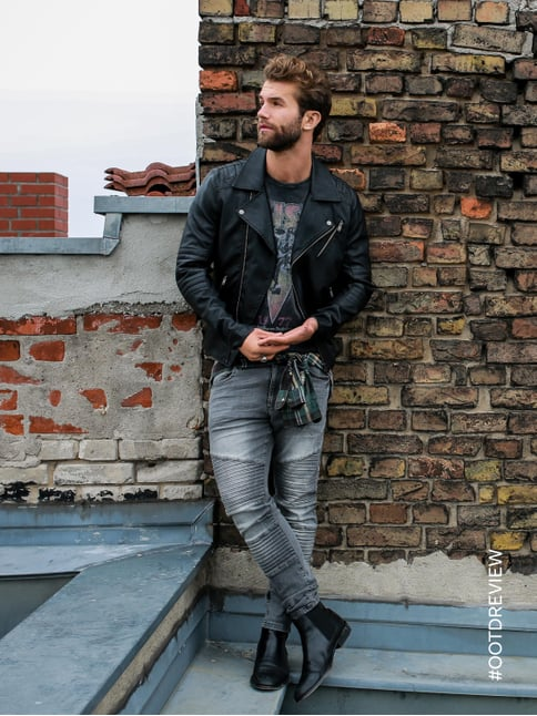 REVIEW Skinny Fit 5-Pocket-Jeans im Biker-Look Hellgrau - 1