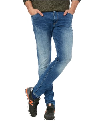 REVIEW Skinny Fit 5-Pocket-Jeans im Used Look Blau - 1