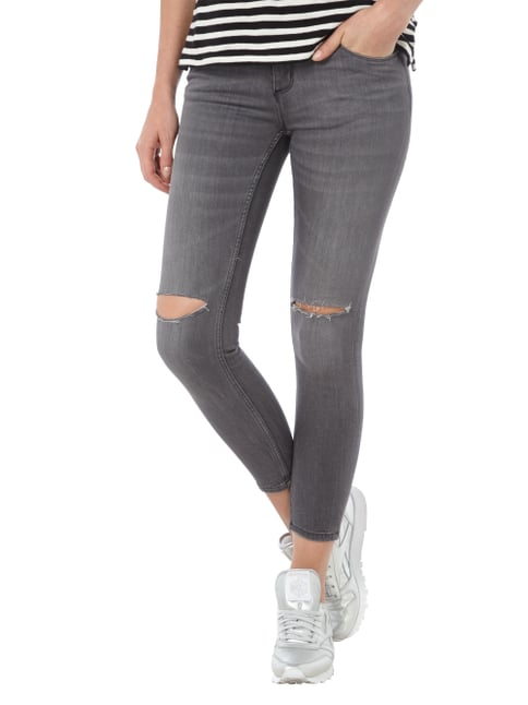 REVIEW Skinny Fit Jeans im Destroyed Look Mittelgrau - 1