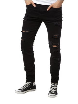 REVIEW Skinny Fit Jeans im Destroyed Look Schwarz - 1