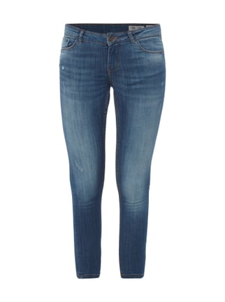 Skinny Fit Jeans im Heavy Used Look Blau / Türkis - 1