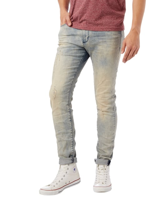REVIEW Skinny Fit Jeans im Used Look Bleu - 1