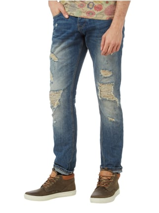REVIEW Slim Dirty Destroyed 5-Pocket-Jeans Dunkelblau - 1