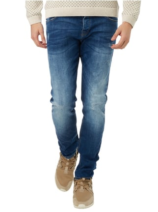 REVIEW Slim Fit 5-Pocket-Jeans im Used Look Blau - 1