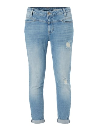 Slim Fit Jeans im Destroyed Look Blau / Türkis - 1
