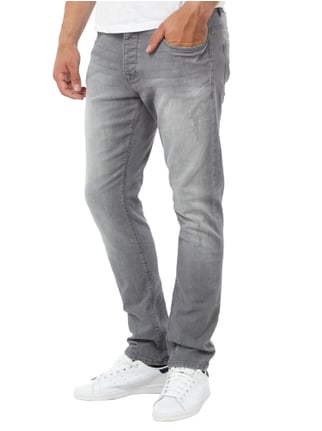 REVIEW Slim Fit Jeans im Used Look Hellgrau - 1