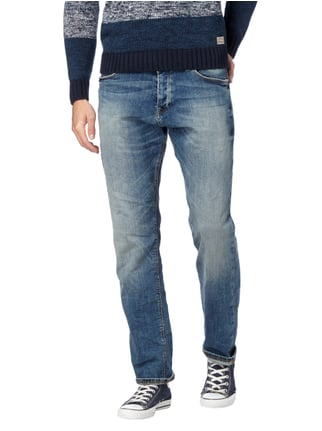 REVIEW Stone Washed Straight Fit 5-Pocket-Jeans Blau - 1
