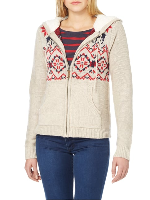 REVIEW Strickjacke mit Norweger-Dessin Offwhite meliert - 1