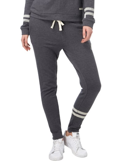 REVIEW Sweatpants mit Zierstreifen und Stickerei Anthrazit meliert - 1