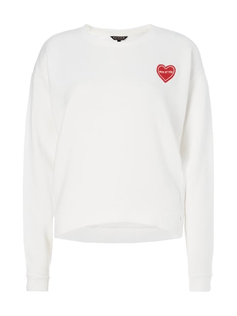 Sweatshirt mit Message-Stickerei Weiß - 1
