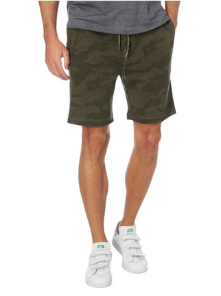 REVIEW Sweatshorts mit Camouflage-Muster Khaki meliert - 1