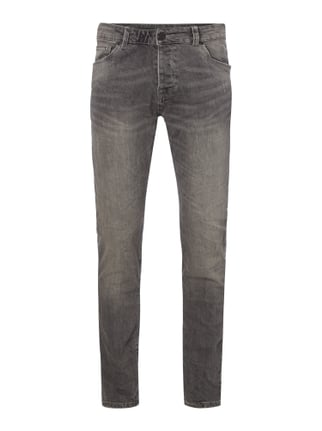 Used Look Slim Fit 5-Pocket-Jeans Grau / Schwarz - 1