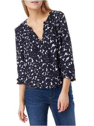 s.Oliver BLACK LABEL Blusenshirt mit Allover-Muster Marineblau - 1