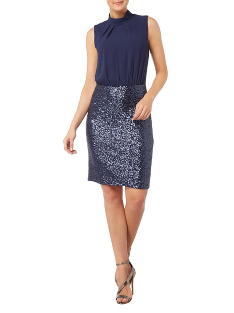 s.Oliver BLACK LABEL Cocktailkleid mit Pailletten-Besatz in Blau / Türkis - 1