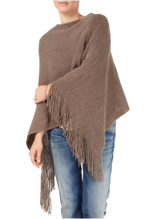 s.Oliver BLACK LABEL Poncho im Rippenstrick Taupe - 1