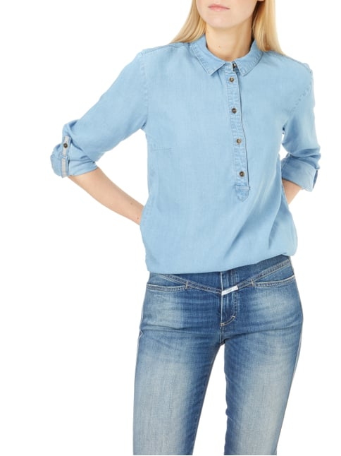 s.Oliver RED LABEL Blusenshirt in Denimoptik Hellblau - 1