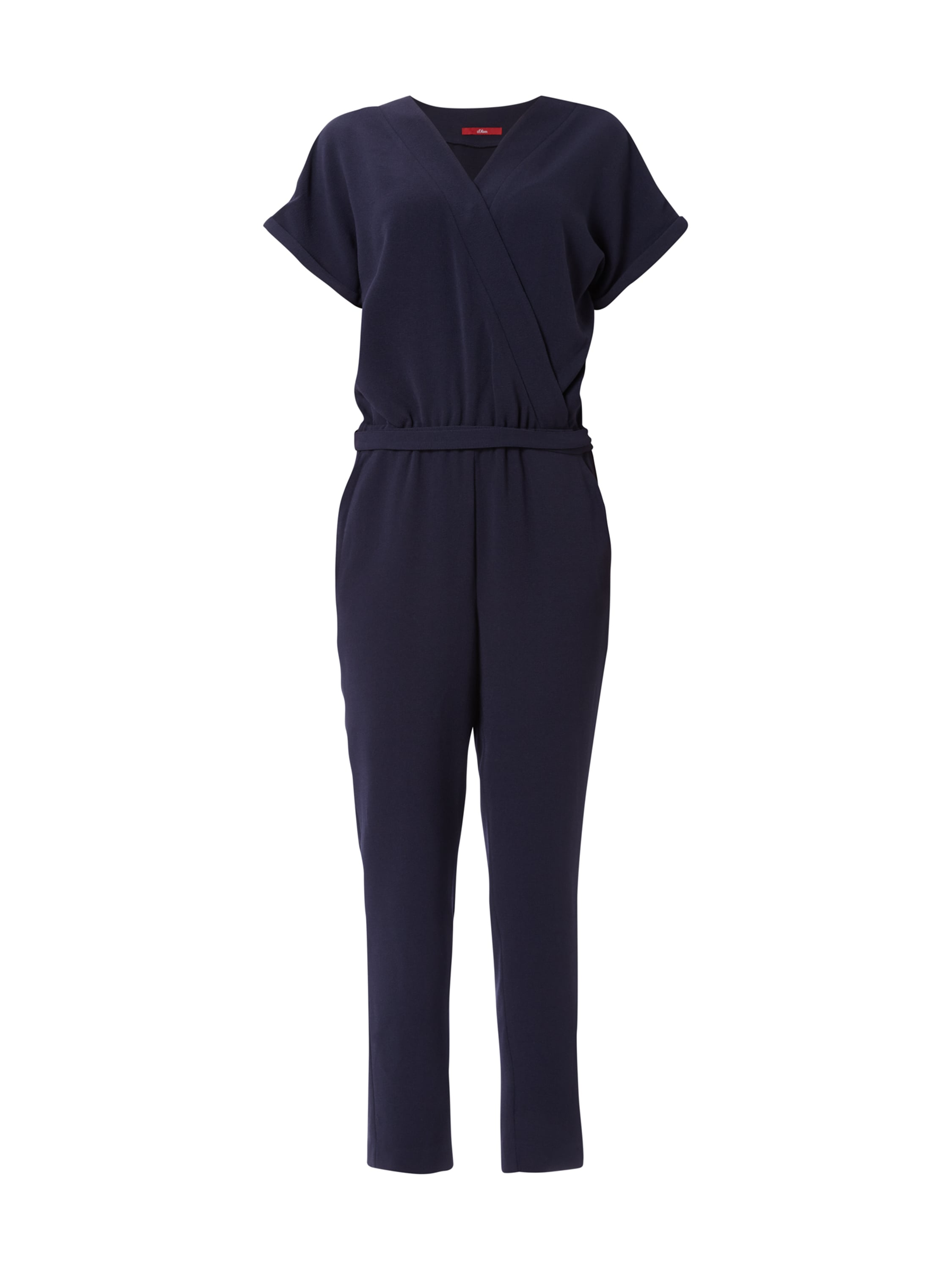 s oliver jumpsuit aus krepp mit tailleng rtel in blau. Black Bedroom Furniture Sets. Home Design Ideas