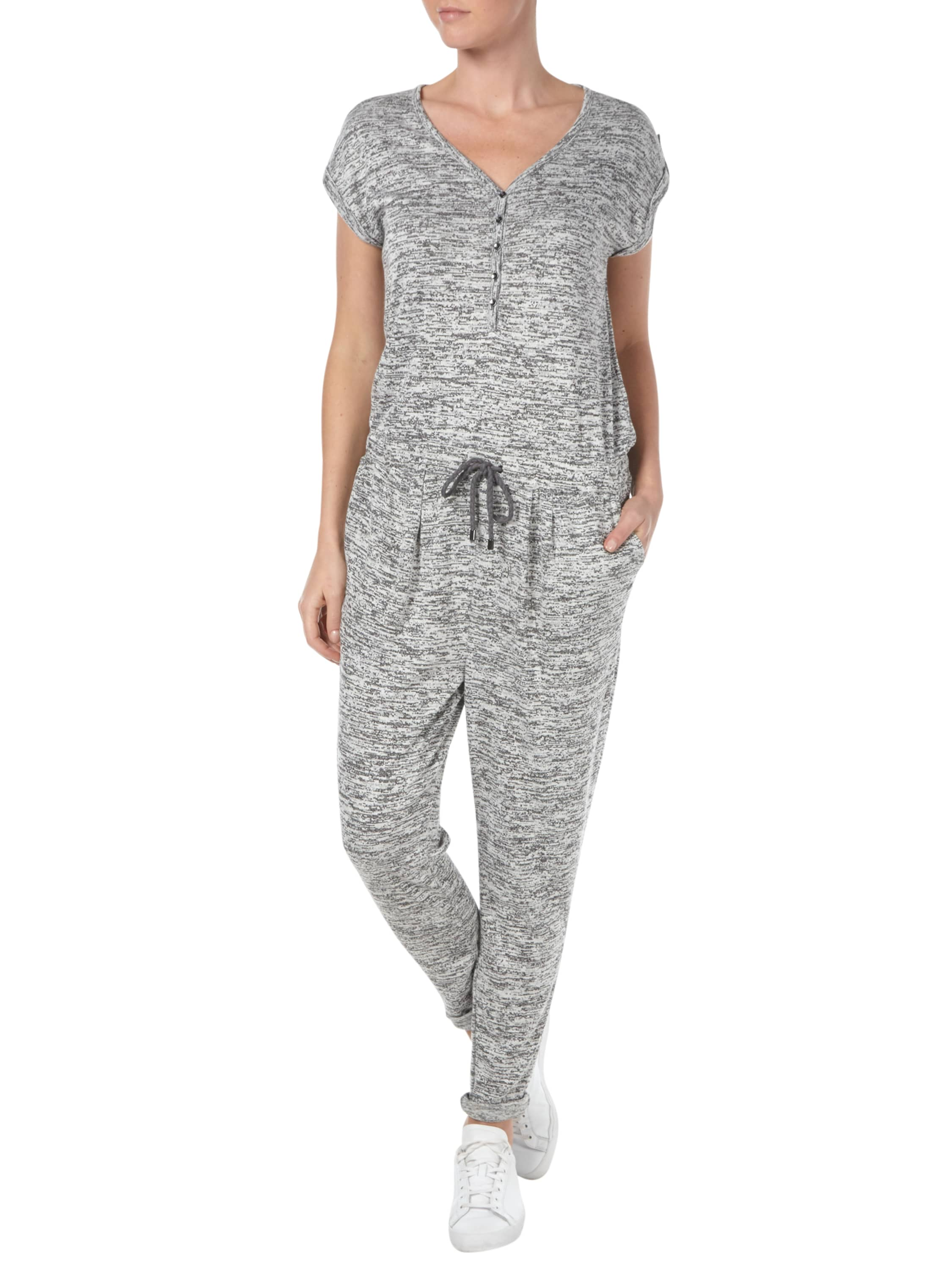 s oliver jumpsuit aus sweat in grau schwarz online. Black Bedroom Furniture Sets. Home Design Ideas