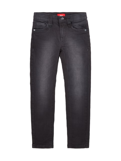 Light Stone Washed Jeans im Slim Fit Grau / Schwarz - 1