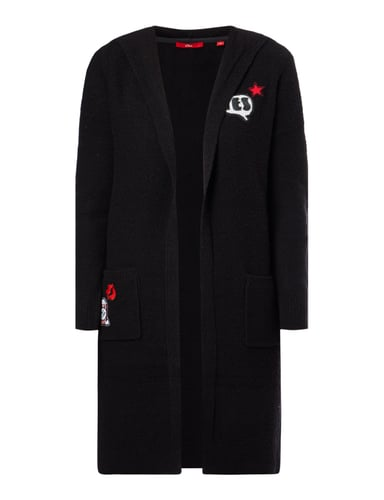 s oliver red label longcardigan mit kapuze und patches in. Black Bedroom Furniture Sets. Home Design Ideas