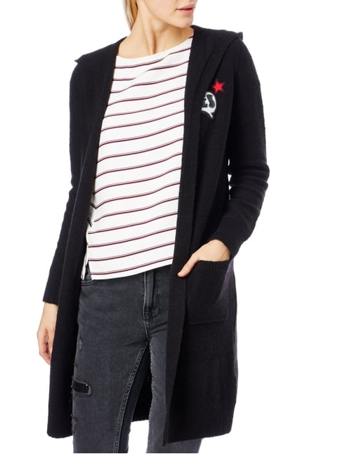 s.Oliver RED LABEL Longcardigan mit Kapuze und Patches Schwarz - 1