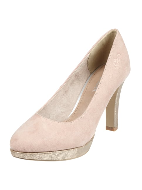 Pumps mit Pfennigabsatz in Metallicoptik Rosé - 1