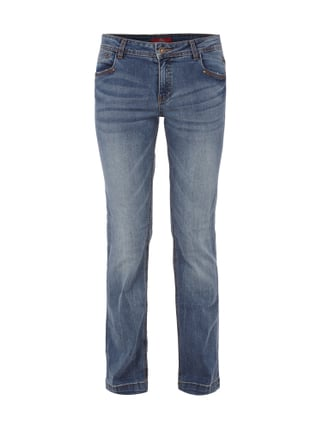 Stone Washed Boot Cut Jeans Blau / Türkis - 1