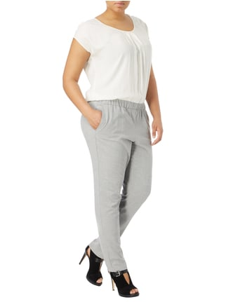 Samoon PLUS SIZE - Jumpsuit im Two-Tone-Design in Grau / Schwarz - 1