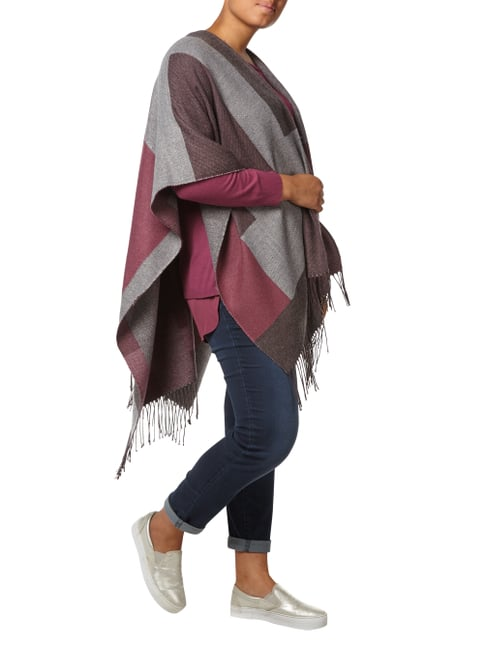 Samoon Poncho mit Allover-Muster in Rosé - 1