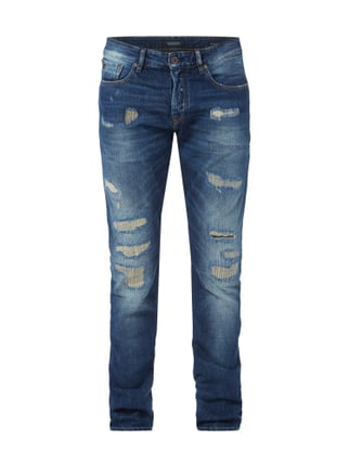 Slim Fit Destroyed and Repaired 5-Pocket-Jeans Blau / Türkis - 1