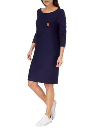 Maison Scotch Sweatkleid mit Anstecker aus Leder in Blau / Türkis - 1