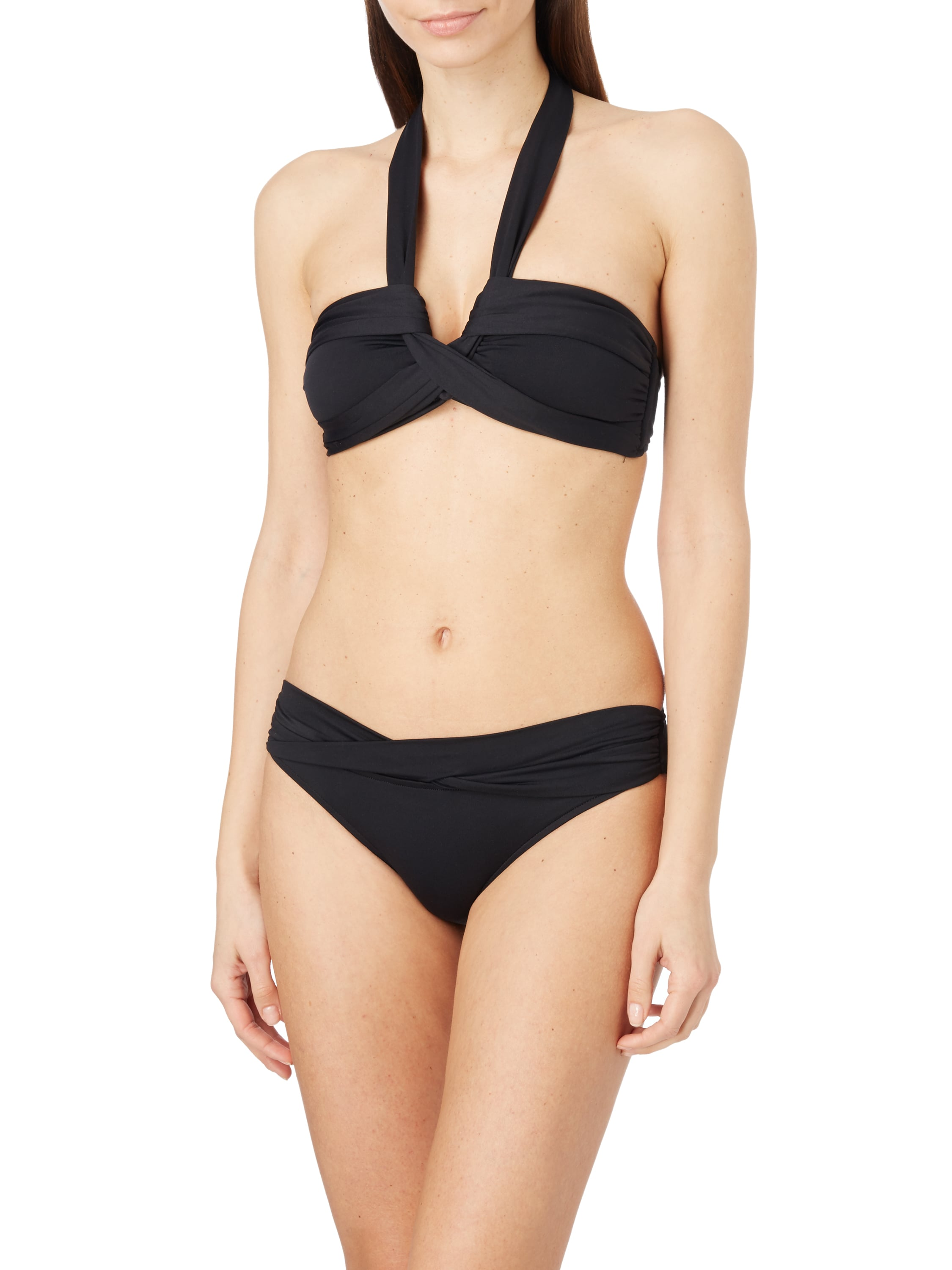 seafolly bikini oberteil mit neckholder in grau schwarz. Black Bedroom Furniture Sets. Home Design Ideas
