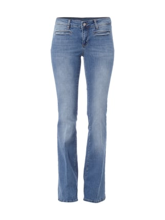 Stone Washed Flared Cut Jeans Blau / Türkis - 1