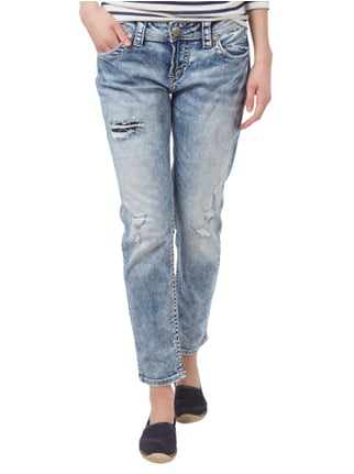 Silver Jeans Boyfriend Jeans im Destroyed Look Blau - 1